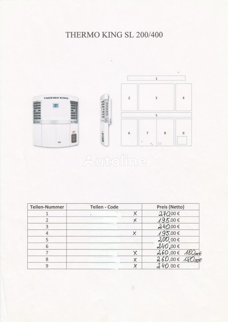 THERMO KING SL 200,300,400, SLX..../ Carrier Vector 1800, 1850/ Carrier Maxi refrigeration unit for parts